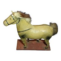 Antique Paper Mache and Wood Toy Horse for Bisque Doll