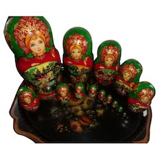 Rare Amazing Set of 15 Russian Nesting Dolls that are Hand Painted of Fairy Tale and Signed