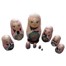Beautiful Hand Painted Russian nesting Dolls With Churches of Russia ( Set of 10)