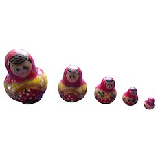 Small Set of Russian Nesting Dolls  ( Hand Painted )