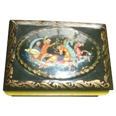Sweet Russian Hand Painted Lacquer Box ( Signed by Artist )