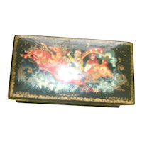 Small Miniature hand Painted Russian Lacquer Box ( Signed by Artist )