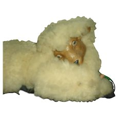 Amazing Vintage Little Lamb with Real Wool