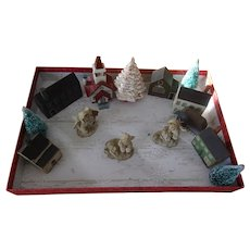 Sweet Vintage Miniature Village with Snow Babies