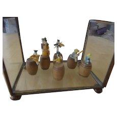 Miniature Vintahge Rag Time Band on Barrels in Glass House