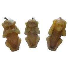 3 Vintage Monkey Candles ( See,Hear and Speak No Evil )