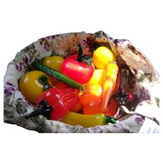 Great Old Vintage Basket Filled with Vintage Glass Fruit and Vegetables