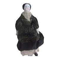Lovely Antique Flat Top China Doll Wearing a Wonderful Period Outfit