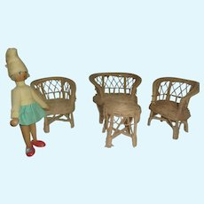 Vintage Wicker Doll Set with Wood Doll
