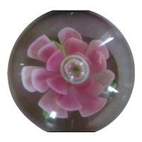 Stunning Vintage Double Pink Flower Paperweight
