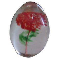 Nice Tear Drop Paperweight with Flower and Stem