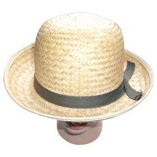 Vintage 1950's Straw Derby Style Hat