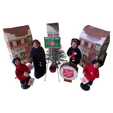 A Wonderful Rare Set of Vintage Byers Choice ( Salvation Army Group with Drum )