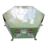 Lovely Vintage Painted Wood Decoupage Hexagon with Great Interior and Feet