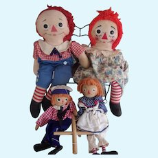 A Great Group of Vintage Raggedy Ann and Andy and 2 Small Marionettes