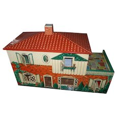 Vintage Tin Dollhouse ( T Cohn Lithograph) 1950's 2 Story