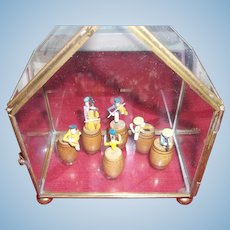 Vintage Rag Time Miniature Set in Glass Case