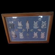 Framed Paper Doll and Outfit