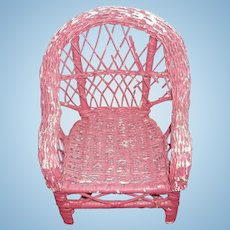 Great Old Wicker Doll Chair Painted Pink