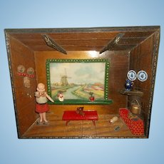 German Dollhouse Doll Set in a Picture Diorama