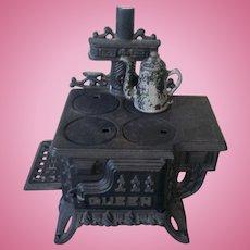 Vintage Queen Cast Iron Miniature Stove
