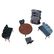 A Wonderful Antique Dining Room Dollhouse Set