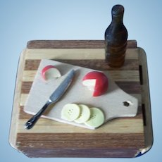 Miniature Butcher Block Table with Food