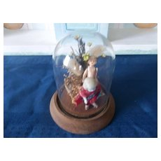 Two Tiny German All Bisque Jointed Doll in Glass Case