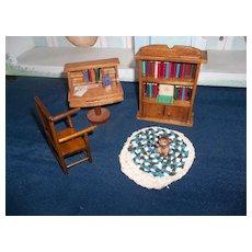 A Wonderful Library Set for Dollhouse