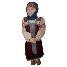 Beautiful Early Stockinette Cloth Russian Doll with Painted Face Features