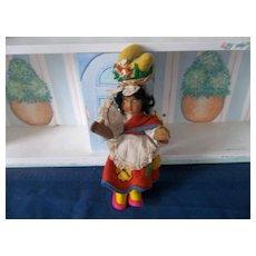 Beautiful Rare Vintage Cloth Felt Joao Perotti Doll ( 10 Inch)