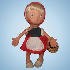 Rare Vintage 1963 Pitchoun Laflex French Doll ( Red Riding Hood)