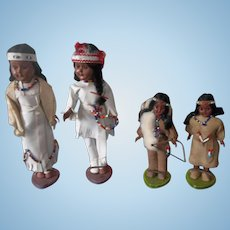 A Beautiful Group of Vintage American Indian Dolls