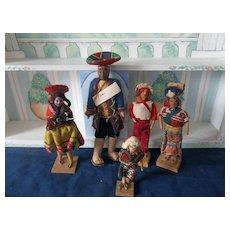 A Vintage Set of Ethnic Dolls Peru and Guatemala