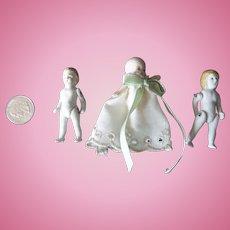 3 Sweet Little All Bisque Dolls