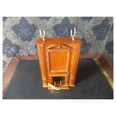 A Beautiful Ornate Wood Vintage Fireplace with Everything