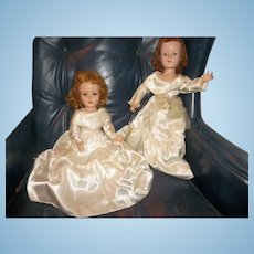 2 Charming Vintage Bride Dolls