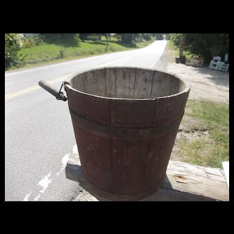 Antique Red Colored Wooden Sap Bucket and Wooden Peg
