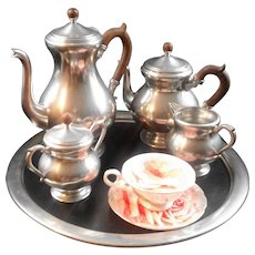 5 Piece Royal Holland Pewter Set ,Coffee / Tea Set Including Tray