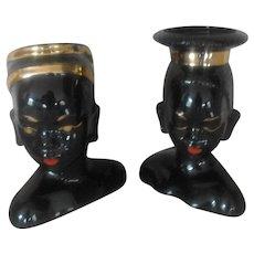 Stunning Pair of Vintage Blackamoor Head Vases