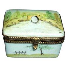 Artist Signed Limoges Porcelain Trinket Box with Scene
