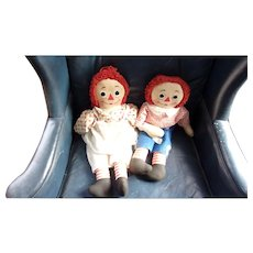 Great Vintage Pair of Knickerbocker Raggedy Ann and Andy