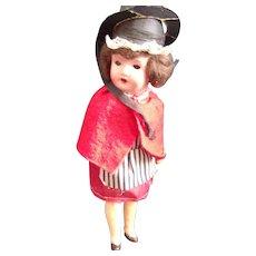Vintage Painted Bisque Doll in Original Costume