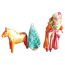 A Sweet Bisque 6 Inch Doll With Her Painted Folk Art Dala Horse