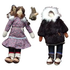 Vintage Inuit Doll Family and Walrus