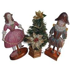 Vintage Pair of Carved Wood Dolls
