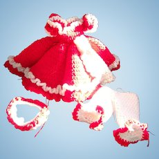 Beautiful Vintage Knitted Outfit For Your Vintage Doll For Christmas