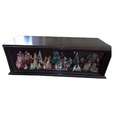 Antique Glass Case Filled with Lots and Lots of Dolls and Miniatures