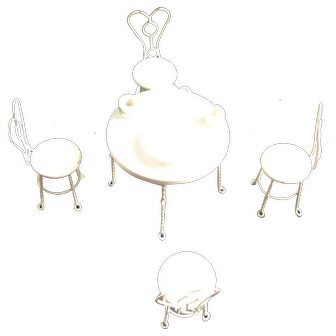Great Vintage Ice Cream Parlor Set