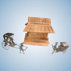 2 Antique Miniature Chinese Rickshaws with